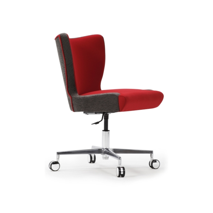 jenny upright armless desk chair with cruciform base castors and